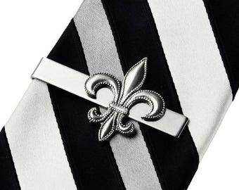 Limited Time Offer Fleur de Lis Tie Clip - NOLA - Tie Bar - Tie Clasp - Business Gift - Handmade - Gift Box Included