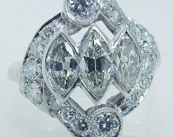 Vintage Platinum 1.62cts FG-VVS1 Diamonds Retro Art Deco Ring