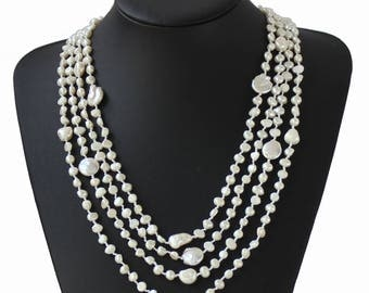 4-Strand Handwoven Ultra-Iridescent Freshwater Cultured Pearl Necklace, wedding gift  Statement Necklace