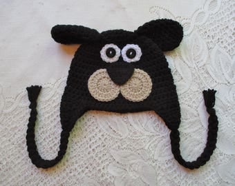 READY TO SHIP - 1 to 3 Year Size - Black and Brown Short Ear Full Face Puppy Dog Crochet Hat - Winter Hat or Photo Prop