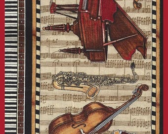ON SALE Reserved Piano Keyboard FAT Quarter 18 x 22 Fabric Combination Sheet Music Brass Instruments