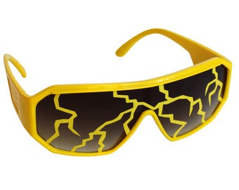 Rasslor Yellow Lightning Bolt Shield Sunglasses