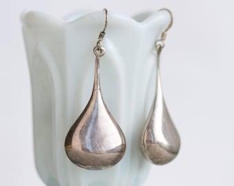 Large Teardrops Earrings - Sterling Silver Dangle Earrings - 2 inches - Minimalist Design - Vintage Oxidized Jewelry