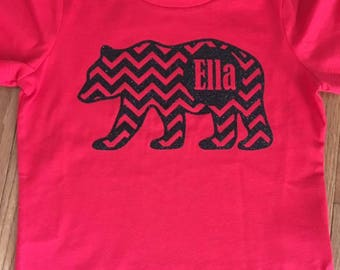 Patterned Bear Monogrammed Children's Shirt FAST SHIPPING