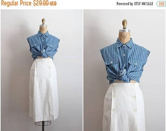 20% OFF SALE // 70s High-Waisted White Linen Skirt / Nautical skirt / Pin up Skirt/ Anne Klein / Size XS/S