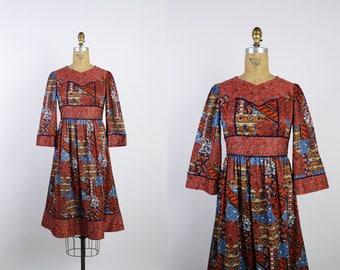 70s Novelty Print Dress /Mini Bell Sleeves / Bohemian Dress / Boho / Flare Sleeve Dress / Size XS/S