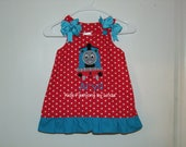 Personalized Red Polka Dot/Turquoise  Pillowcase Dress With Thomas Applique