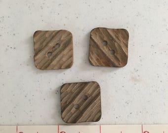 3 Square Wooden Buttons
