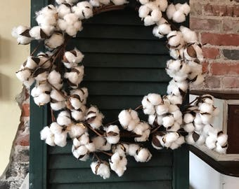 White Farmhouse Fixer Upper Style Cotton Wreath Wall Door Decor