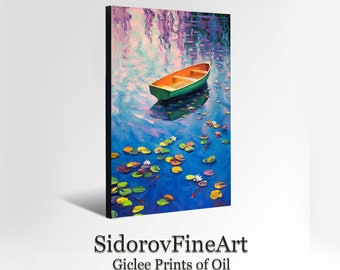 OIL Landscape Painting  Giclee Print Canvas Print Fine Art Print of ORIGINAL Painting Sea Painting  Boats  Painting