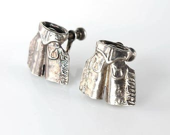 Rodeo Earrings, Cowboy Chaps Sterling Earrings, Southwest Cowgirl Vintage  jewelry