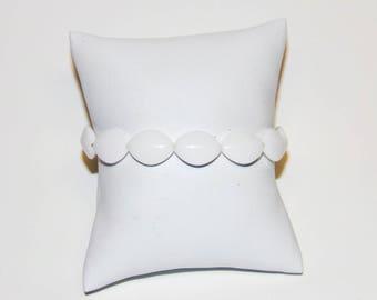 White Bracelet, Stretch Bracelet, Stretchy Bracelet, Oval Bracelet, Women Bracelet, Fashion Bracelet, Plastic Bracelet, Affordable Bracelet