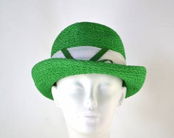 Vintage Green Straw Chapeau Hat by Lady Desley, Ladies Fedora/Pork Pie Hat