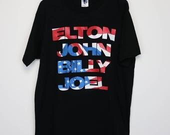 Elton John & Billy Joel Shirt Vintage tshirt 1994 Face To Face Tour Concert Tee 1990s Rocket Man Piano Glam Rock N Roll Band