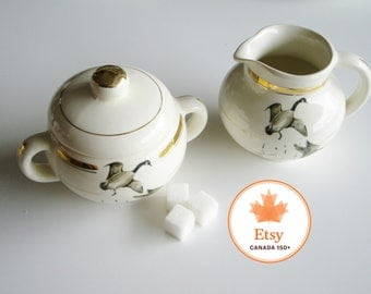 Vintage Cream and Sugar Set, Hycroft, Canadian Geese, Medicine Hat, Metalta, 22Kt Gold, Canadiana, Cream & Sugar, Birds, Geese, EtsyCA150+
