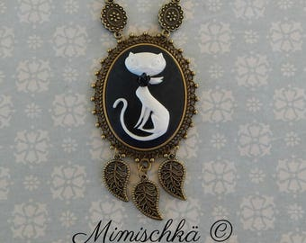 necklace cameo cat