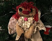 Handmade Raggedy Ann Cloth Stump Doll Angel Ornament Ornie Country Primitive Hearts