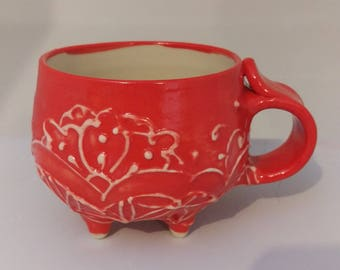 Thrown Mug with Feet / Footed Cup - Bright Red