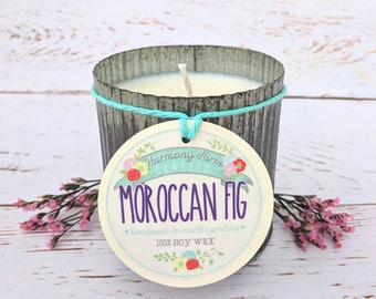 Moroccan Fig Soy Wax Candle in 12 oz. Zinc Jar - Fig Candle, Spring Candle, Floral Candle, Fresh Candle, Housewarming, Home Gift