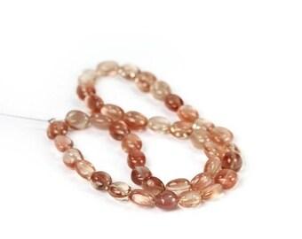 SUMMER SALE SALE Oregon Sunstone Smooth Nugget Beads 4 Pieces Ponderosa Dark Pink Peach Schiller Local Semi Precious Gemstone spring summer