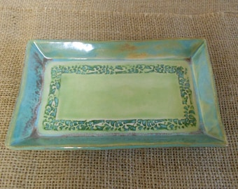 Large Hand Formed Square Platter with Vine Scroll