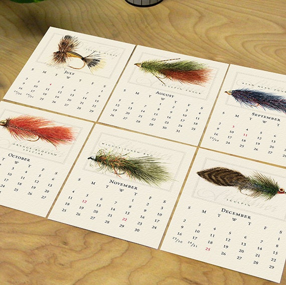 2018 desk calendar, 1/2 PRICE SALE!!, fly fishing desk calendar, dry fly calendar, nymph calendar, Paul Twitchell fly fishing calendar