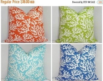 FALL is COMING SALE Outdoor Coral Print Pillow Cushion Covers Lime Manderin Blue Porch Decorative Pillows 18x18