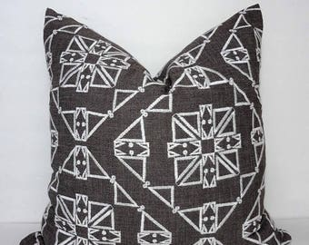 FALL is COMING SALE Charcoal and White Textured Embroidered African Boho Aztec Geometric Printed Pillow Cover Throw Pillow Cover by HomeLivi