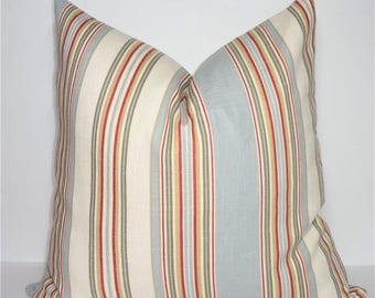 Orange Rust Blue Ivory Stripe Pillow Cover Decorative Striped Pillow Cover Size 18x18