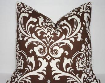 SPRING FORWARD SALE Decorative Brown & Ivory Damask Pillow Cover Brown Damask Pillow Cover 18x18