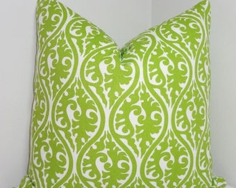 SPRING FORWARD SALE Lime Green Chartreuse Kimono Damask Pillow Cover Decorative Throw Pillow All Sizes