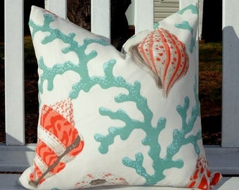 SPRING FORWARD SALE Outdoor Turquoise Coral Shell Orange Pillow Cushion Covers Nautical Aqua Blue & Coral Porch Pillows 18x18
