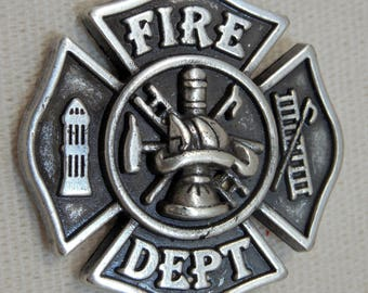 Fire Department Concho, Polish Pewter Concho, Fireman, Fire Department, Fire Station, Heros, Recognization, Honor, First Responders, Concho