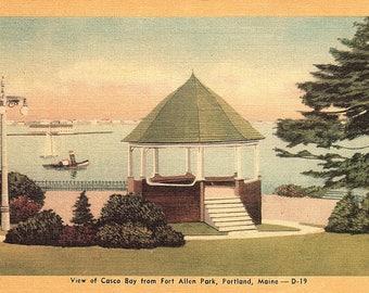 Portland, Maine, Casco Bay, Fort Allen Park - Postcard - Vintage Postcard - Unused (TT)