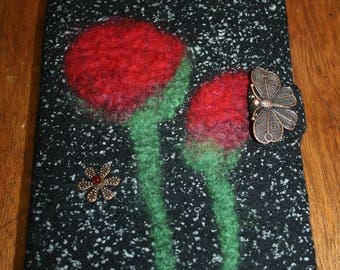 """Wool and silk diary cover """"Time of the poppies..."""""""