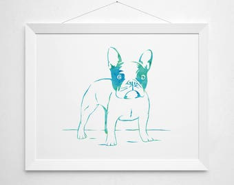 French Bulldog Printable - art poster decor - watercolor aqua teal green blue modern pets pet dog animal lover bull dog colorful water color