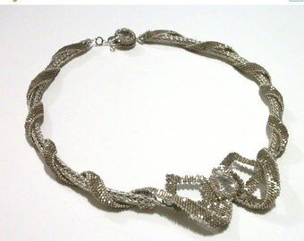 MEGA CLEARANCE Beaded Ribbons & Bows Special Occasion Necklace - Cubic Zirconium and Viking Knit in Silver