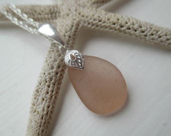 Pink Sea Glass Sterling Silver Necklace