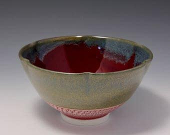 Wheel-thrown & Altered Rim Porcelain Bowl with Red, Light Blue and Olive Glaze by Hsinchuen Lin