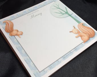 Personalized Scampering Squirrel Lunchbox Lovey Note Pad