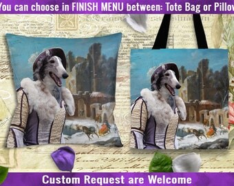 Borzoi Pillow/Borzoi Tote Bag/Borzoi Portrait/Russian Wolfhound ART/Dog Tote Bag/Dog Pillow/Custom Dog Portrait/Personalized Dog
