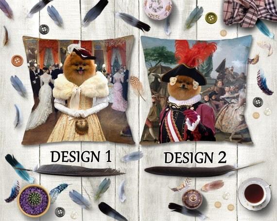 Pomeranian Pillow/Pomeranian Portrait/Pomeranian Art/Pomeranian Print/Personalized Dog Pillow/Custom Dog Portrait by Nobility Dogs
