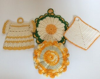 Vintage Yellow Crochet Pot Holders - Wall Decor- Hot Pads - Shabby Cottage Chic - Farmhouse - Yellow Kitchen - French Cottage - Country