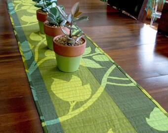 Quilted table runner • green table runner • Marimekko fabric • Madison Wisconsin • modern table runner • cotton • gift mom • contemporary