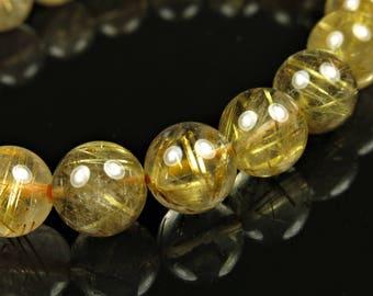 "Beautiful ~ Golden Rutilated Quartz Stretch Bracelet - 7 "" Length - B7313"