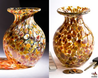 Hand Blown Glass Vase with Earthy Pale Orange Grey Dots