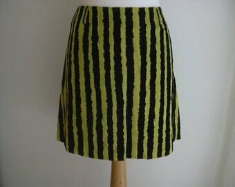 Kenzo Acid Bright Yellow Black Velour Striped Skirt Size 38 UK 10 US 6