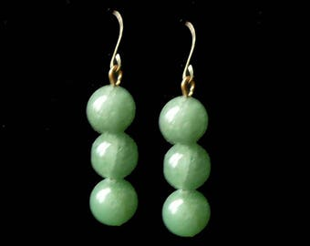 Jade Dangle Earrings Pierced Vintage