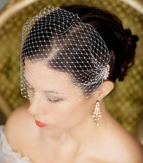 Rose Gold Birdcage Veil, Rosegold headpiece, rose gold cage veil, Bandeau Bird cage Veil, Wedding Veil Rhinestones, rose gold Bridal Veil