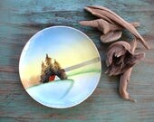 Meito Hand Painted Woodsy Cabin Dish, Gallery Wall, Hand painted Plate, Hand Painted Dish, Vintage Dish, Bread and Butter Plate, Vintage Art